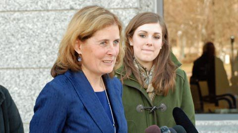Lawyer Kathleen Gebhardt, along with plaintiff Taylor Lobato, met with reporters after Colorado Supreme Court arguments on March 7, 2013.