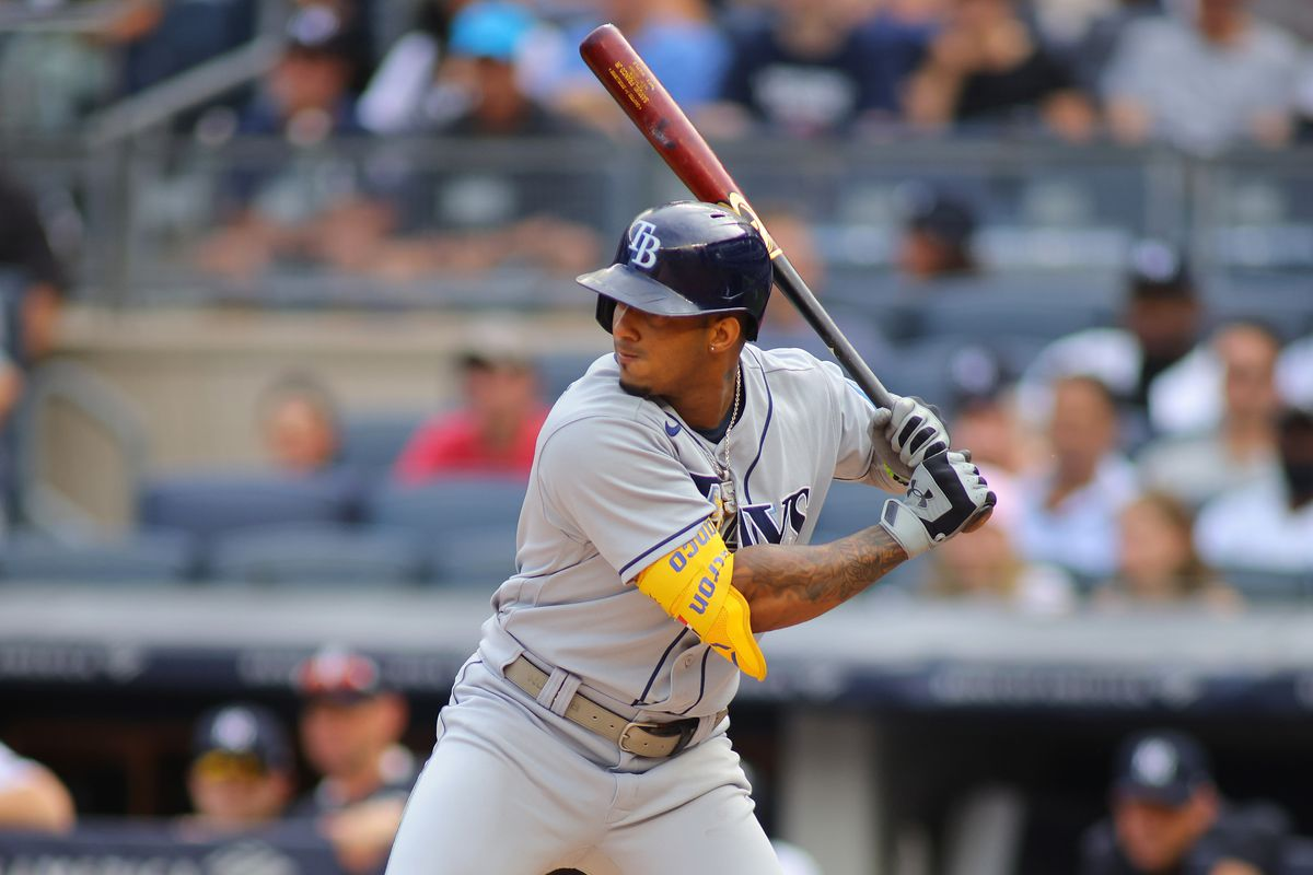 Wander Franco #5 of the Tampa Bay Rays in action against the New York Yankees at Yankee Stadium on October 03, 2021 in New York City. New York Yankees defeated the Tampa Bay Rays 1-0.
