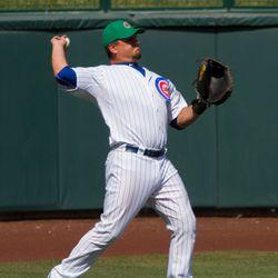 Schwarber warming up the left fielder -