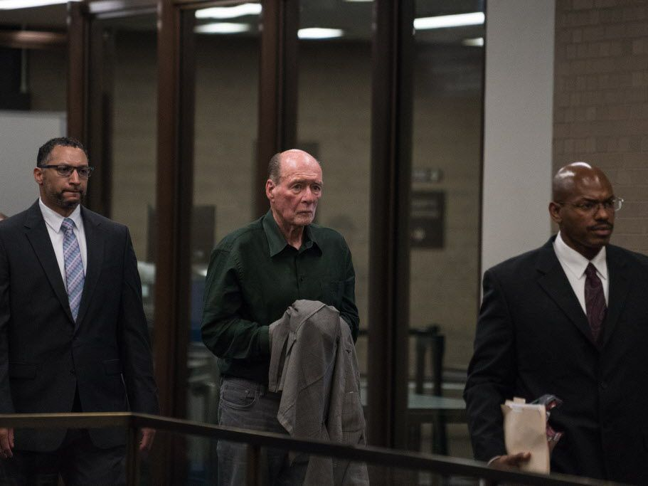 Former Chicago Board of Trade Chairman Patrick Arbor, center, arrives for court in the Daley Center in May. File Photo.   Max Herman/For the Sun-Times
