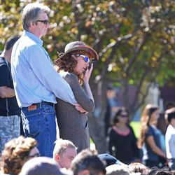 Community members gather at City Park during a memorial service for Grant Seaver in Park City on Saturday, Sept. 17, 2016.