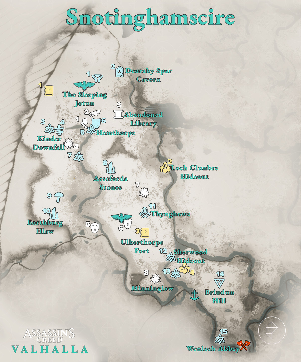 Snotinghamscire Wealth, Mysteries, and Artifacts locations map