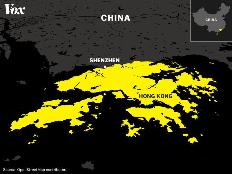 A map showing where Hong Kong is located in relation to China.