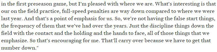 Fisher 2015 preseason penalties quote