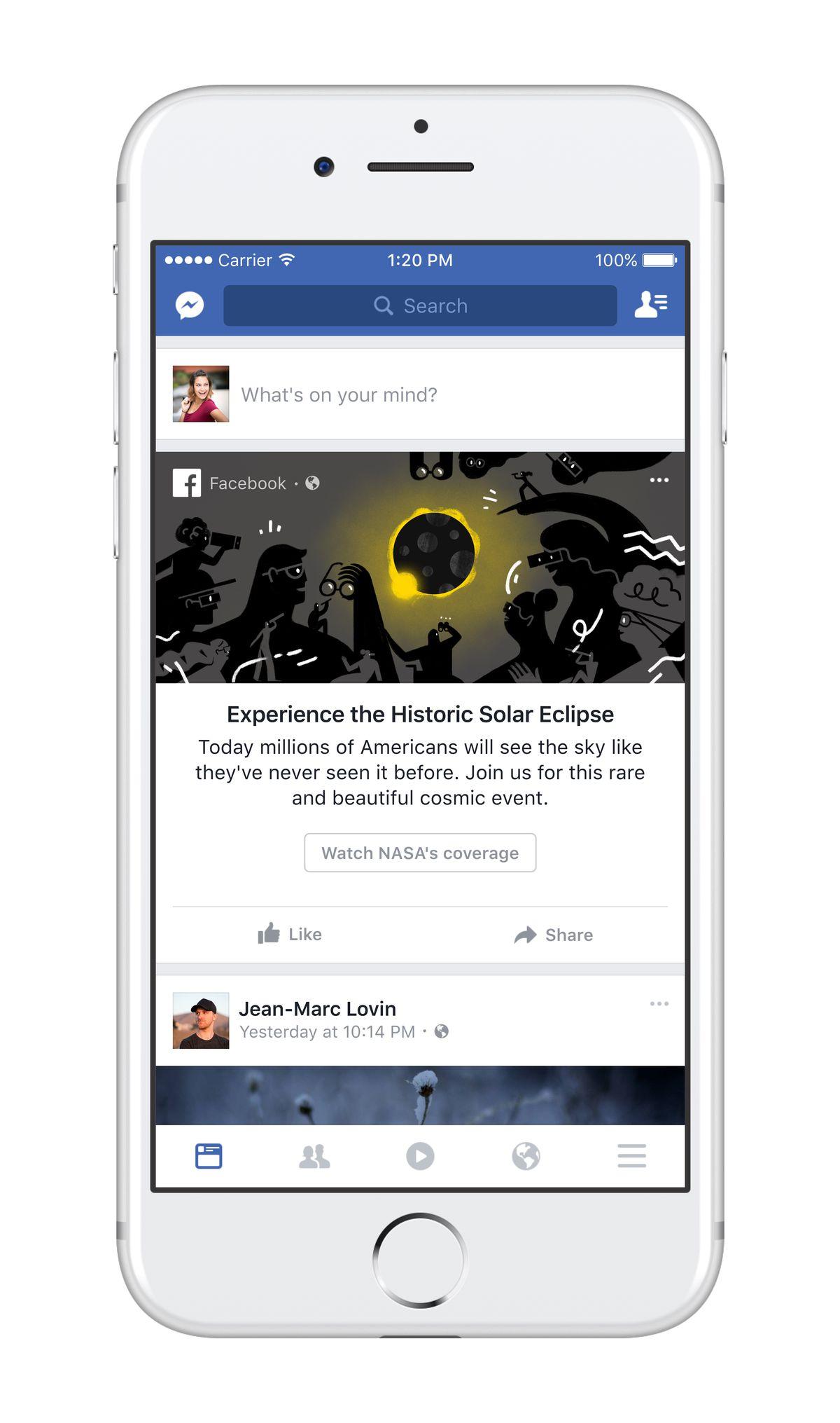 Facebook's solar eclipse notification.