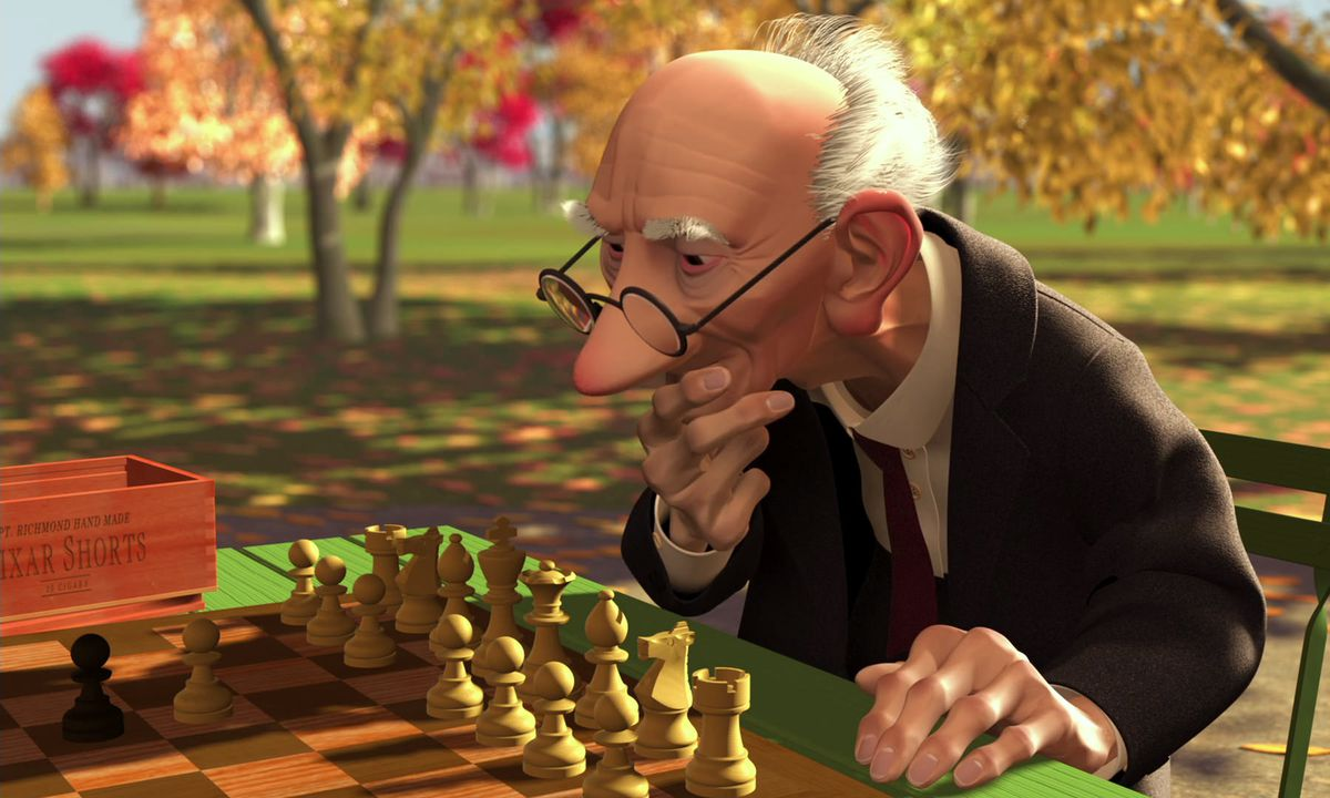 Old man playing chess