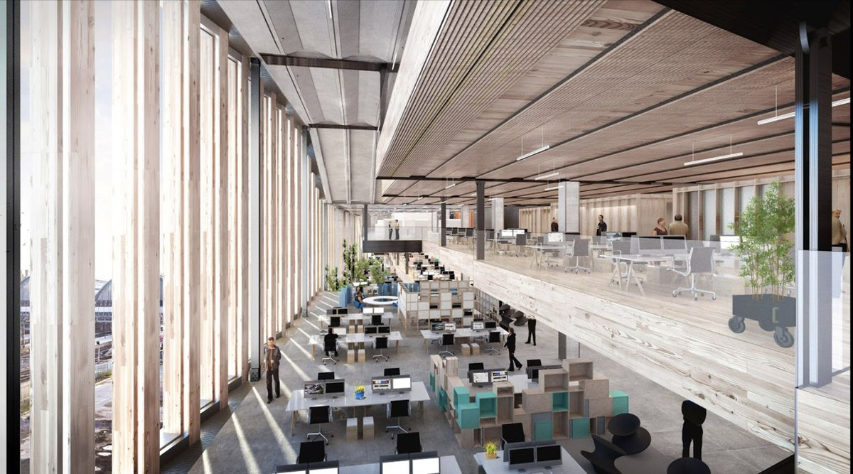 The interior of the building will be mainly given over to open plan offices image google