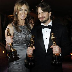 Oscar winners Kathryn Bigelow and Mark Boal attend the Governors Ball following the the 82nd Academy Awards Sunday.