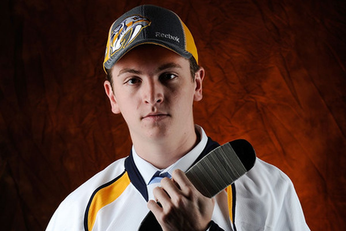 Harvard sophomore and Nashville Predators draft pick Jimmy Vesey had six shots on net in his team's first game of the season.