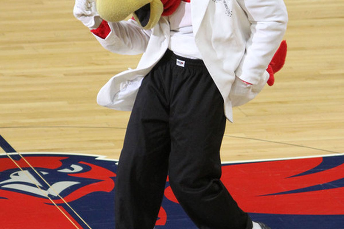 May 1, 2012; Atlanta, GA, USA; Atlanta Hawks mascot preforms during the first half of game two in the Eastern Conference quarterfinals of the 2012 NBA Playoffs at Philips Arena. Celtics won 87 - 80. Mandatory Credit: Joshua S. Kelly-US PRESSWIRE