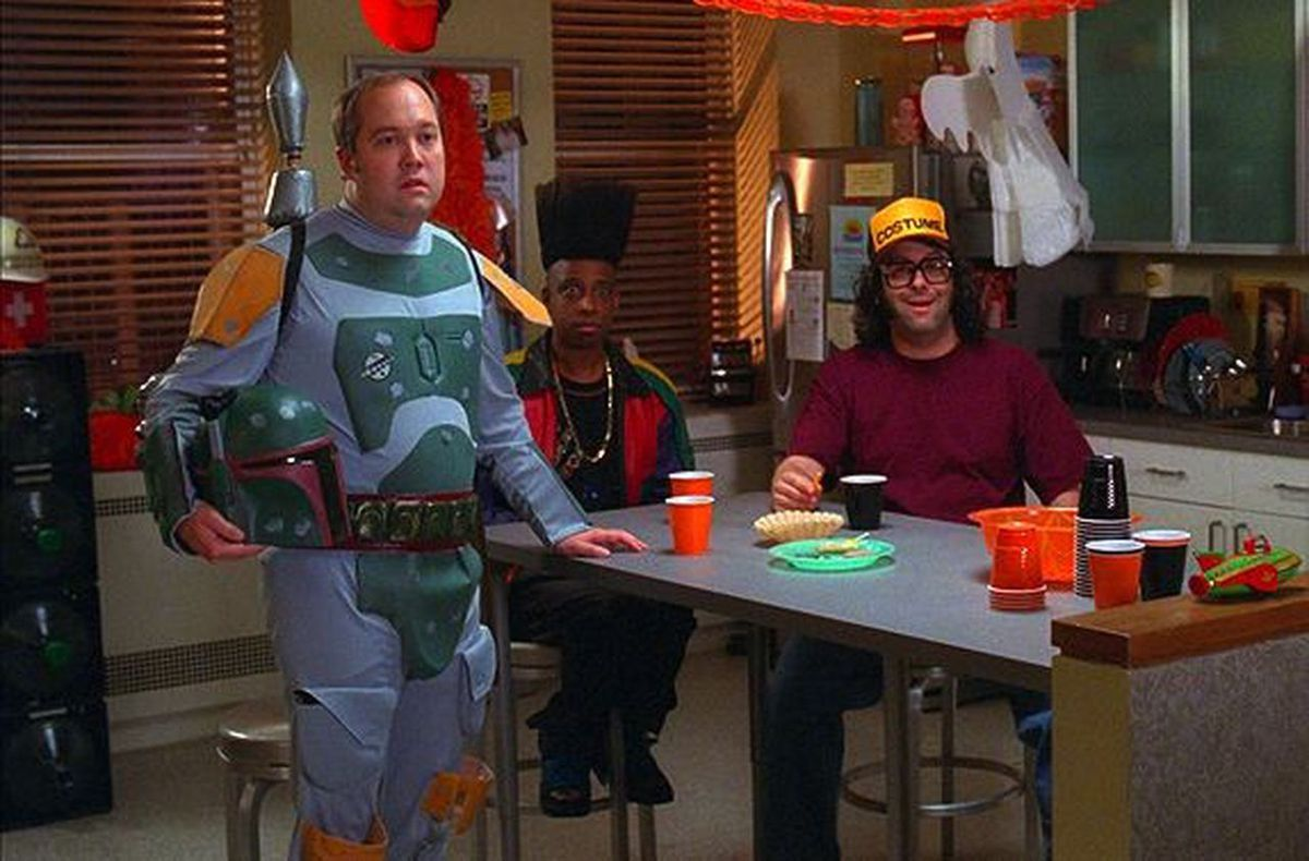 "Lutz, Toofer, and Frank wear costumes in the 30 Rock Halloween episode ""Stone Mountain"""