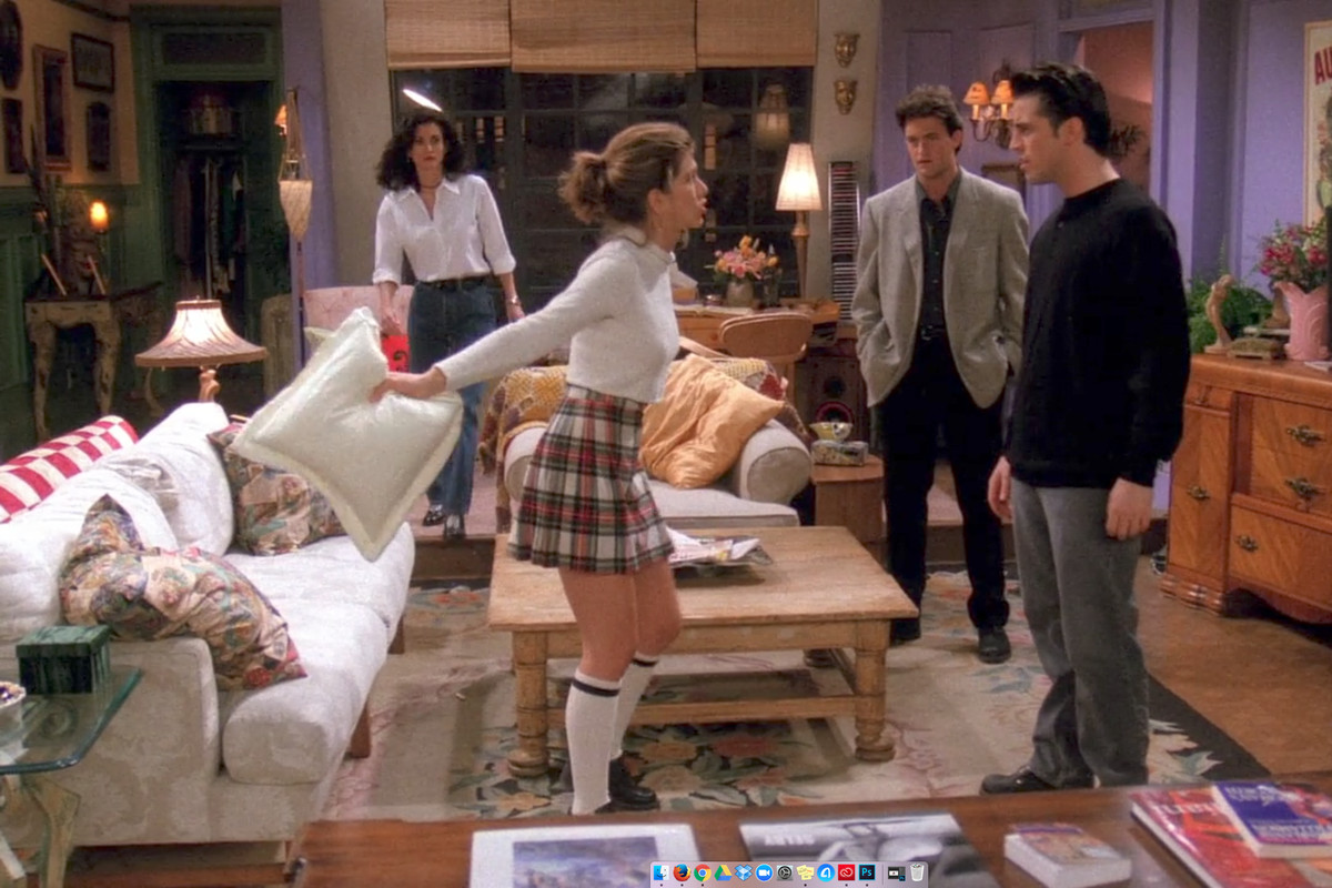 """A scene from Friends season 1 episode 19, """"The One Where the Monkey Gets Away."""""""
