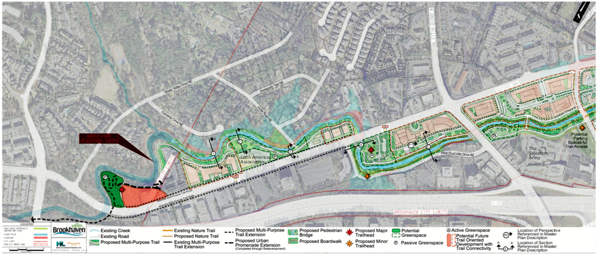 A rendering overview of a long snaking bike trail.