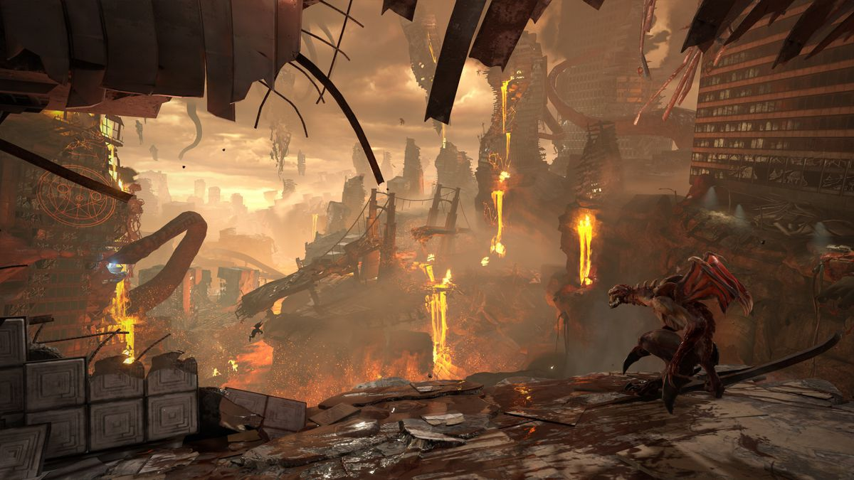 a demon with wings looks over a dystopian environment in Doom Eternal