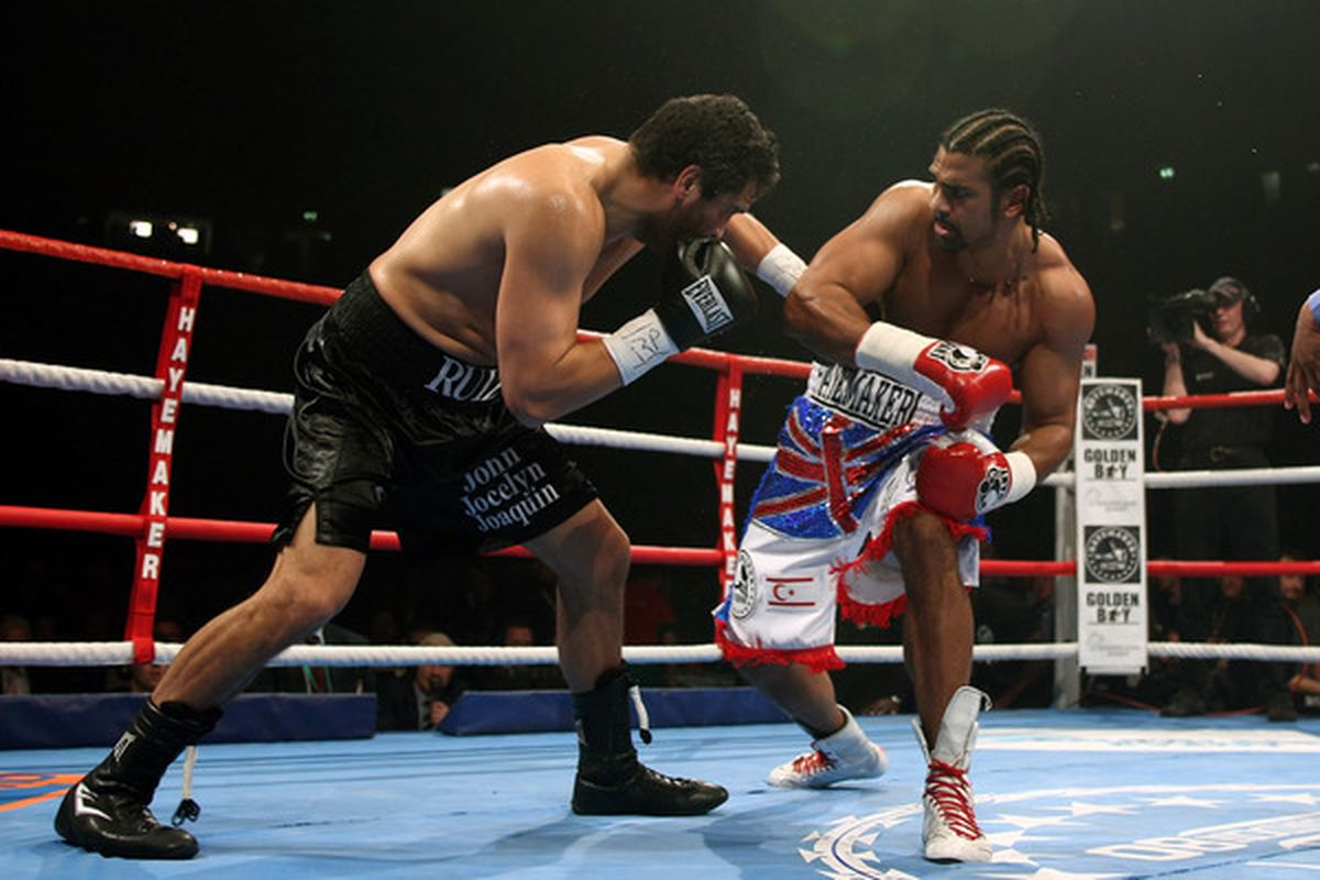 John Ruiz ended his career with a valiant but failing effort against the much fresher, quicker and stronger David Haye.  (Photo by Michael Steele/Getty Images)