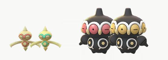 Shiny Baltoy and Claydol with their regular forms. The Shiny Baltoy's red features become green, and Clayton's pink eyes turn golden.