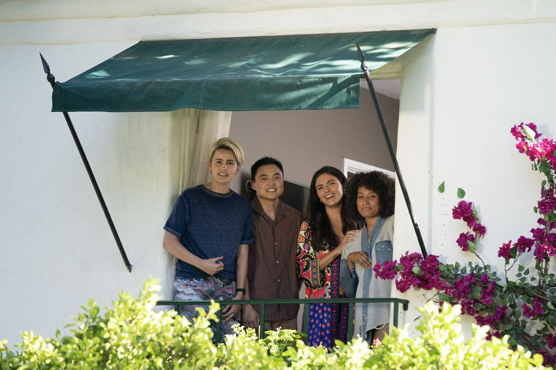 the l word generation q cast assembles on the balcony of an la apartment