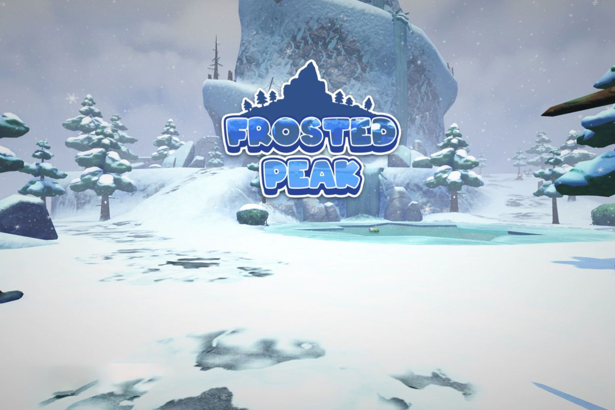 """Test that says """"Frosted Peak"""" over a snowy mountain top with a small frozen lake in the center"""