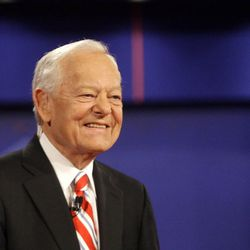In this Oct. 15, 2008 file photo, moderator Bob Schieffer smiles at the start of a presidential debate at Hofstra University in Hempstead, N.Y. For the first time in two decades, a woman has been tapped to moderate a presidential debate. CNN's Candy Crowley will moderate one of three October debates between President Barack Obama and Republican challenger Mitt Romney, the Commission on Presidential Debates announced Monday. Jim Lehrer of PBS and Bob Schieffer of CBS News will moderate the other two debates. Lehrer will moderate the first debate on Oct. 3 in Denver, focused on domestic topics.