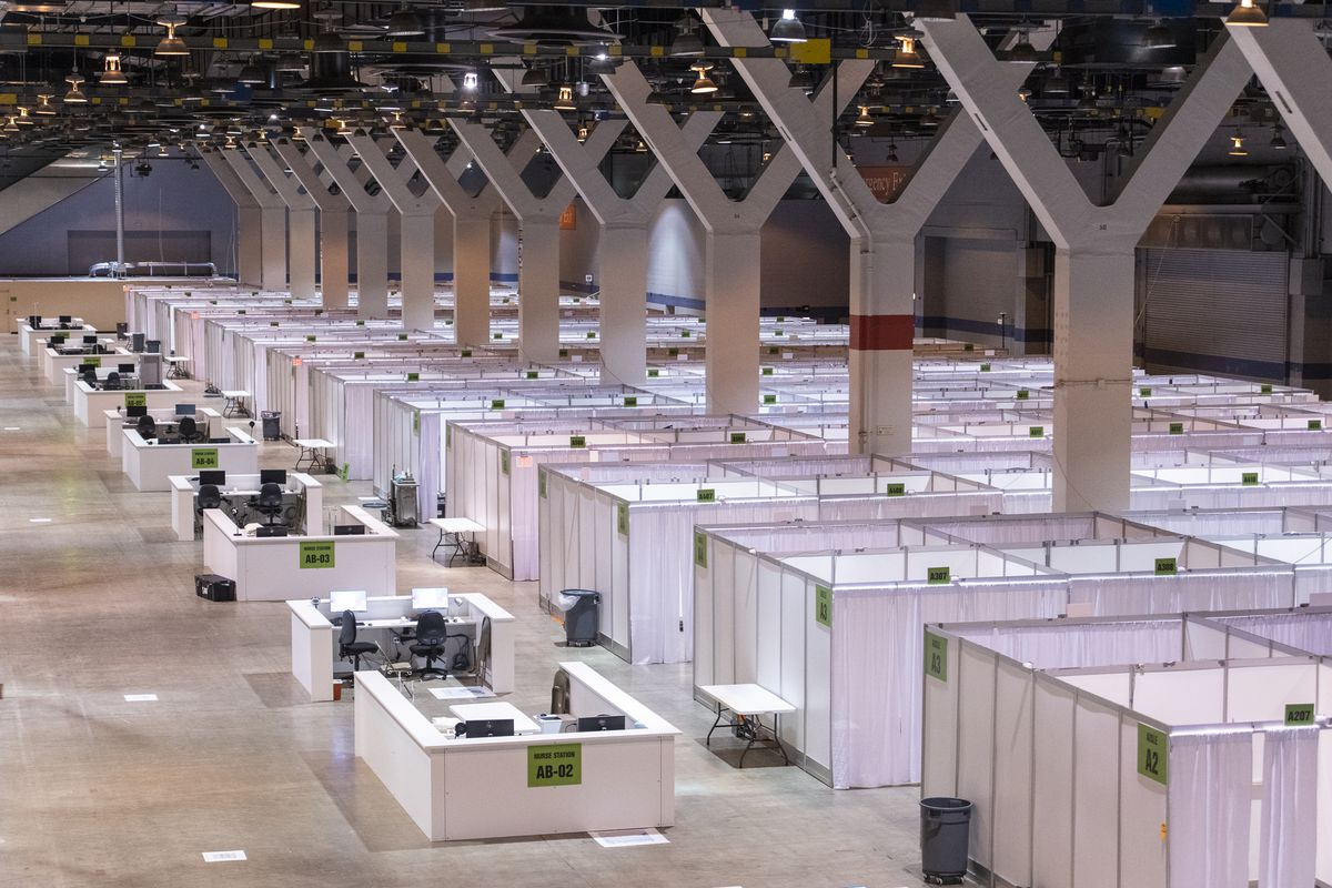 Finished medical rooms at McCormick Place's emergency coronavirus hospital as it was opening in April.