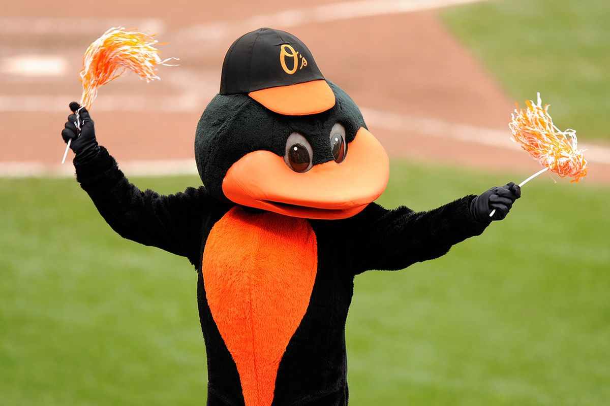 BALTIMORE, MD - SEPTEMBER 01:  The Oriole mascot performs during the game between the Toronto Blue Jays and the Baltimore Orioles at Oriole Park at Camden Yards on September 1, 2011 in Baltimore, Maryland.  (Photo by Greg Fiume/Getty Images)