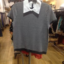 Collared houndstooth tee, $119