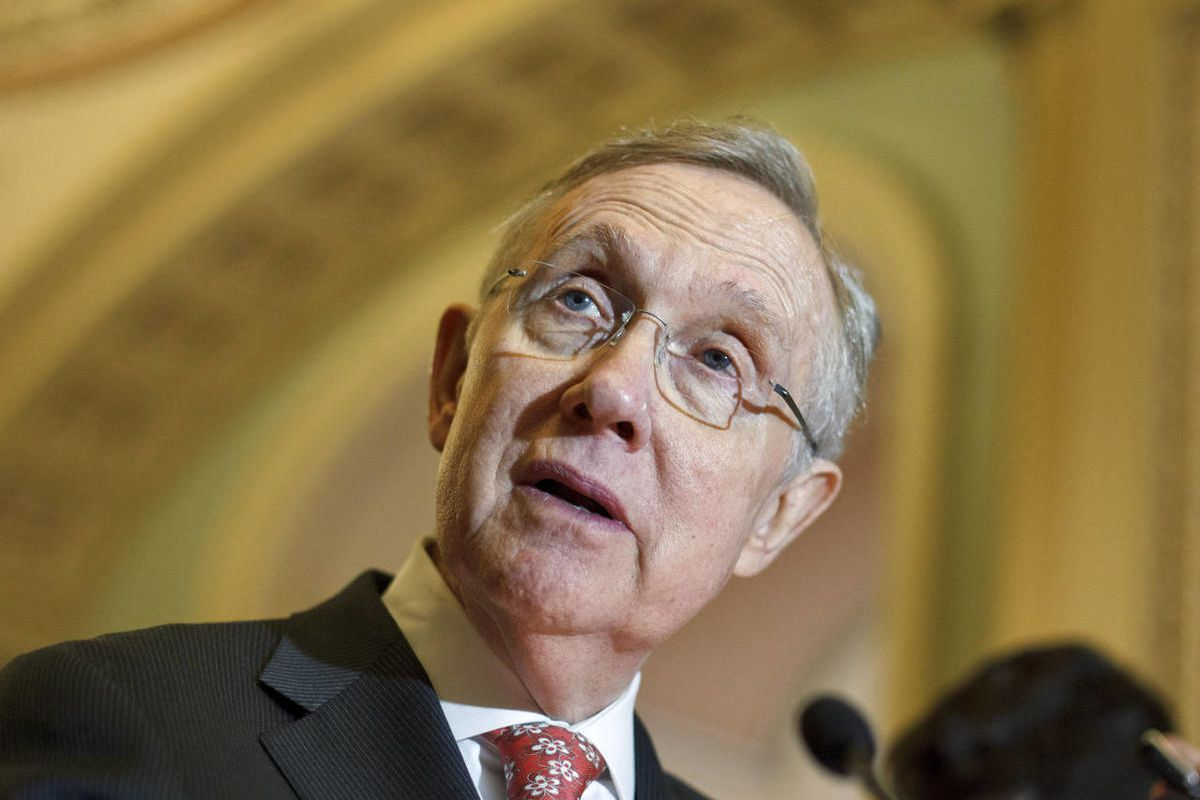 Senate Majority Leader Harry Reid of Nev. talks to reporters on Capitol Hill in Washington, Tuesday, April 24, 2012, following the Democrats\' weekly strategy session.