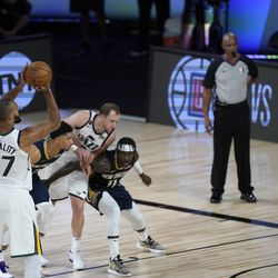 Utah Jazz's Rudy Gobert makes a free throw after being fouled late in the during the second half of an NBA basketball game against the New Orleans Pelicans Thursday, July 30, 2020, in Lake Buena Vista, Fla. (AP Photo/Ashley Landis, Pool)