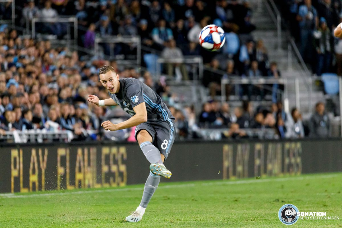 October 20, 2019 - Saint Paul, Minnesota, United States - Minnesota United midfielder Ján Greguš (8) crosses the ball during the 1st round playoff match against the LA Galaxy at Allianz Field.