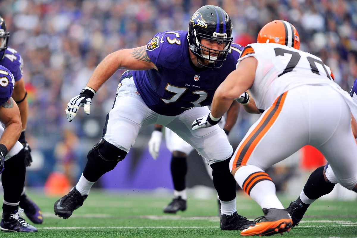 Marshal Yanda plays against the Cleveland Browns