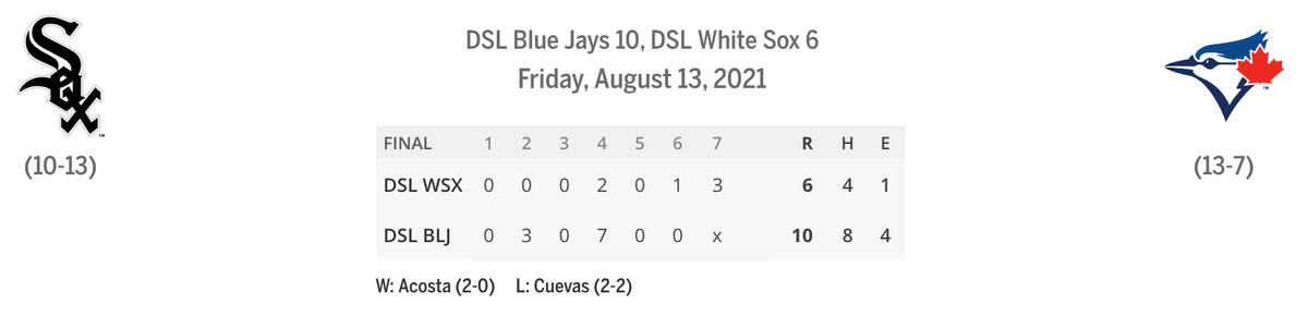 DSL Sox/Blue Jays linescore game one