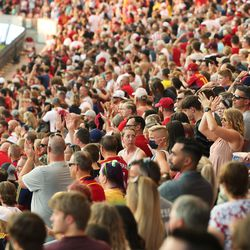 Real Salt Lake fans cheer at Rio Tinto Stadium in Sandy on Saturday, July 24, 2021. Real won 3-0.