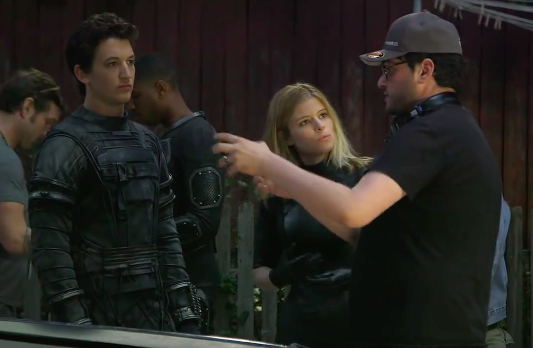 Josh Trank directs Miles Teller and Kate Mara in a scene from Fantastic Four