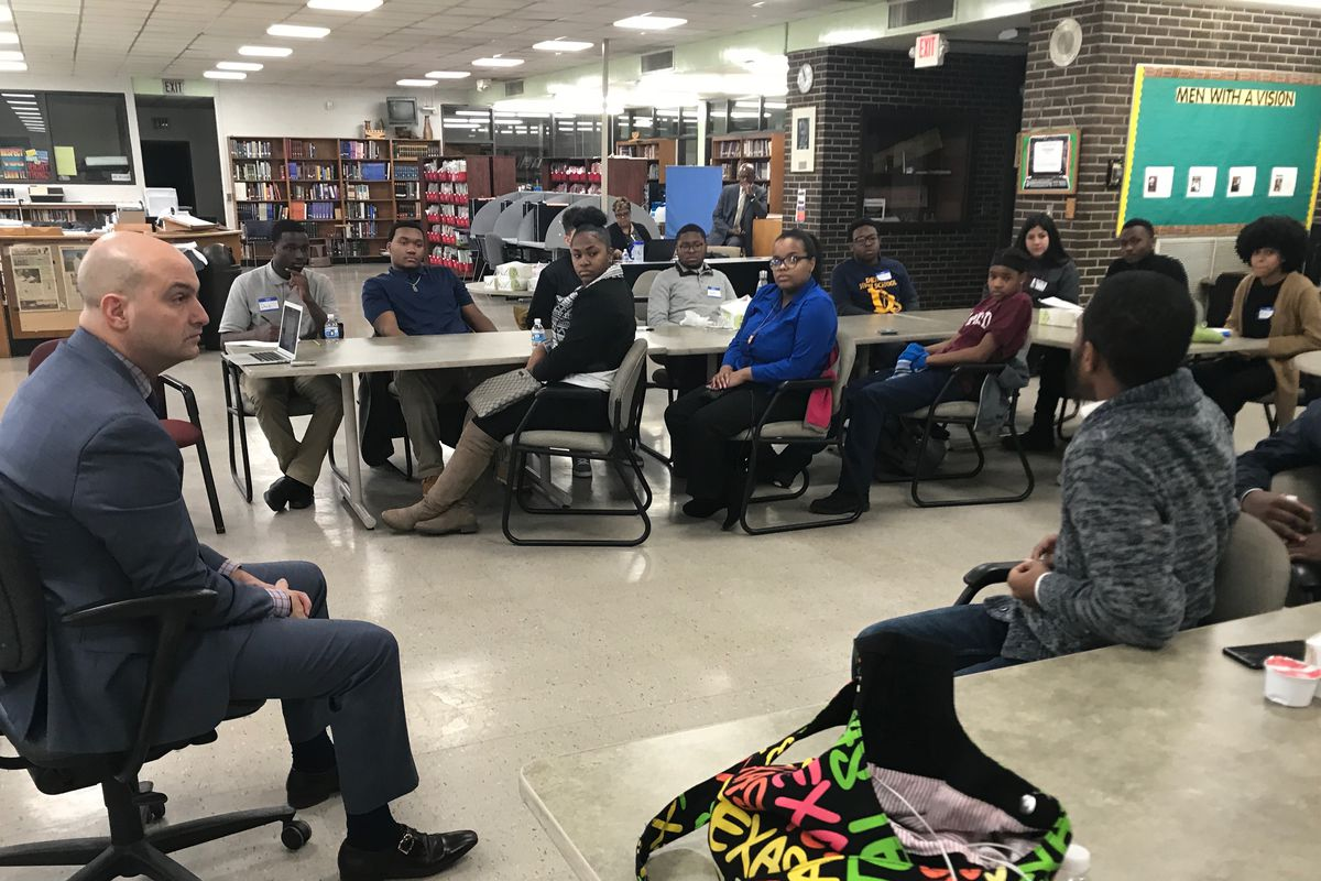 Detroit schools superintendent Nikolai Vitti met with student leaders about their plans to participate Wednesday in a nationwide student walkout to protest gun violence.
