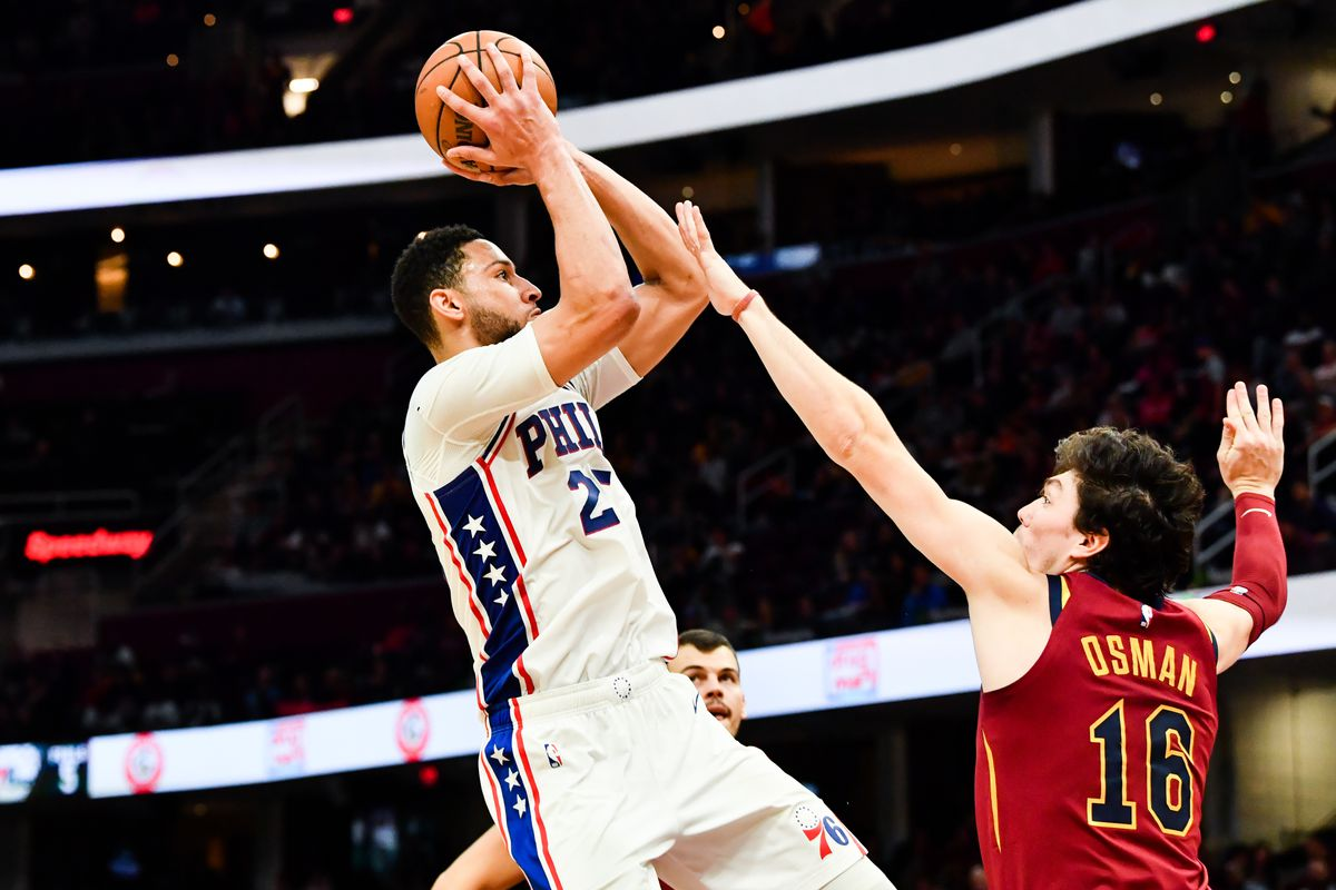 Philadelphia 76ers guard Ben Simmons drives to the basket against Cleveland Cavaliers forward Cedi Osman during the second half at Rocket Mortgage FieldHouse.