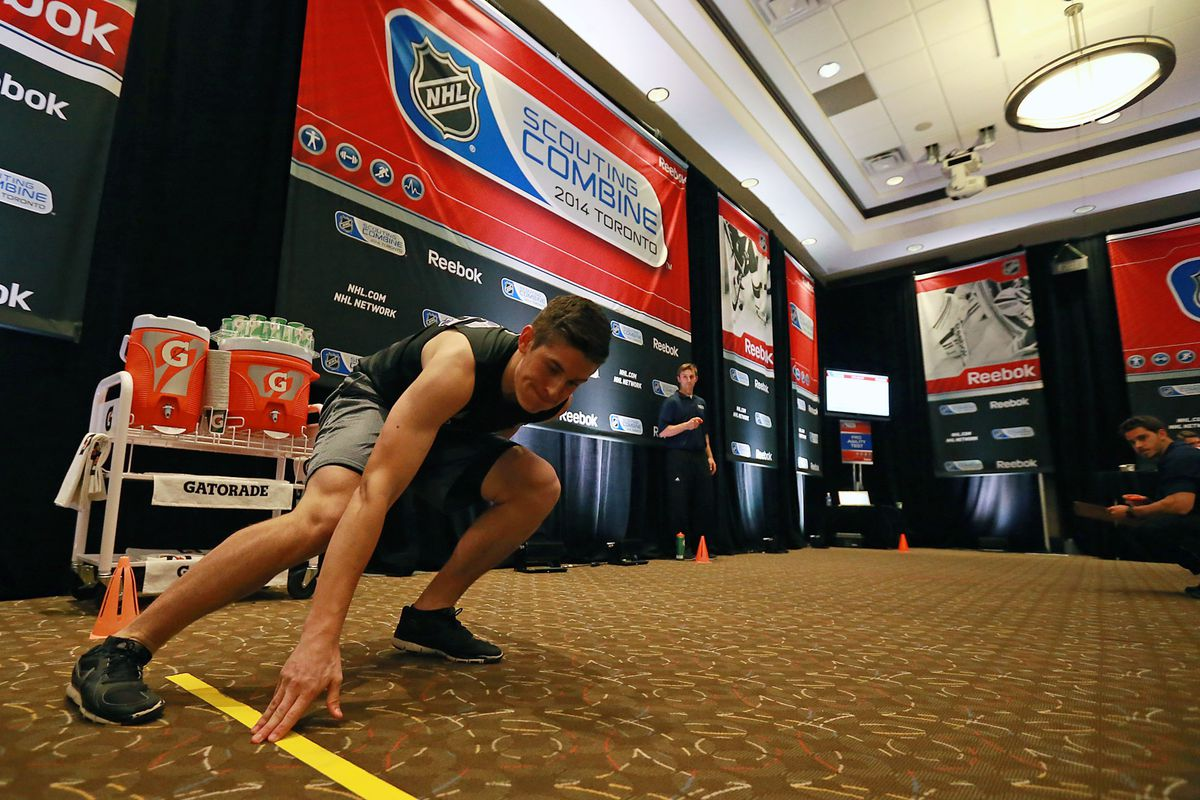 Brendan Perlini performs a test at the NHL Draft Combine