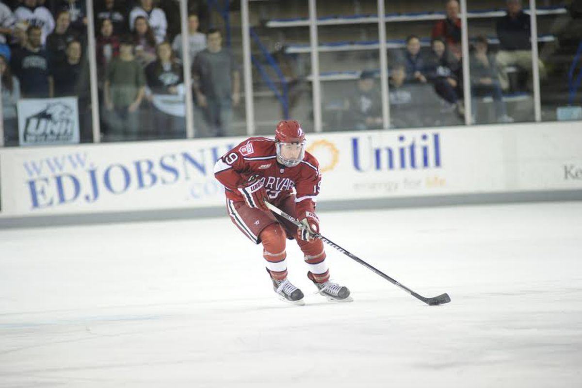 Harvard forward Jimmy Vesey has three goals and an assist in the Crimson's first three games.