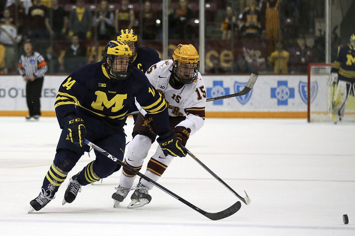 Tyler Motte had two first period goals for the Wolverines
