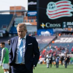 FOXBOROUGH, MA - MARCH 30: Minnesota United FC coach Adrian Heath walks off the field following a New England Revolution win at Gillette Stadium on March 30, 2019 in Foxborough, Massachusetts. (Photo by J. Alexander Dolan - The Bent Musket)