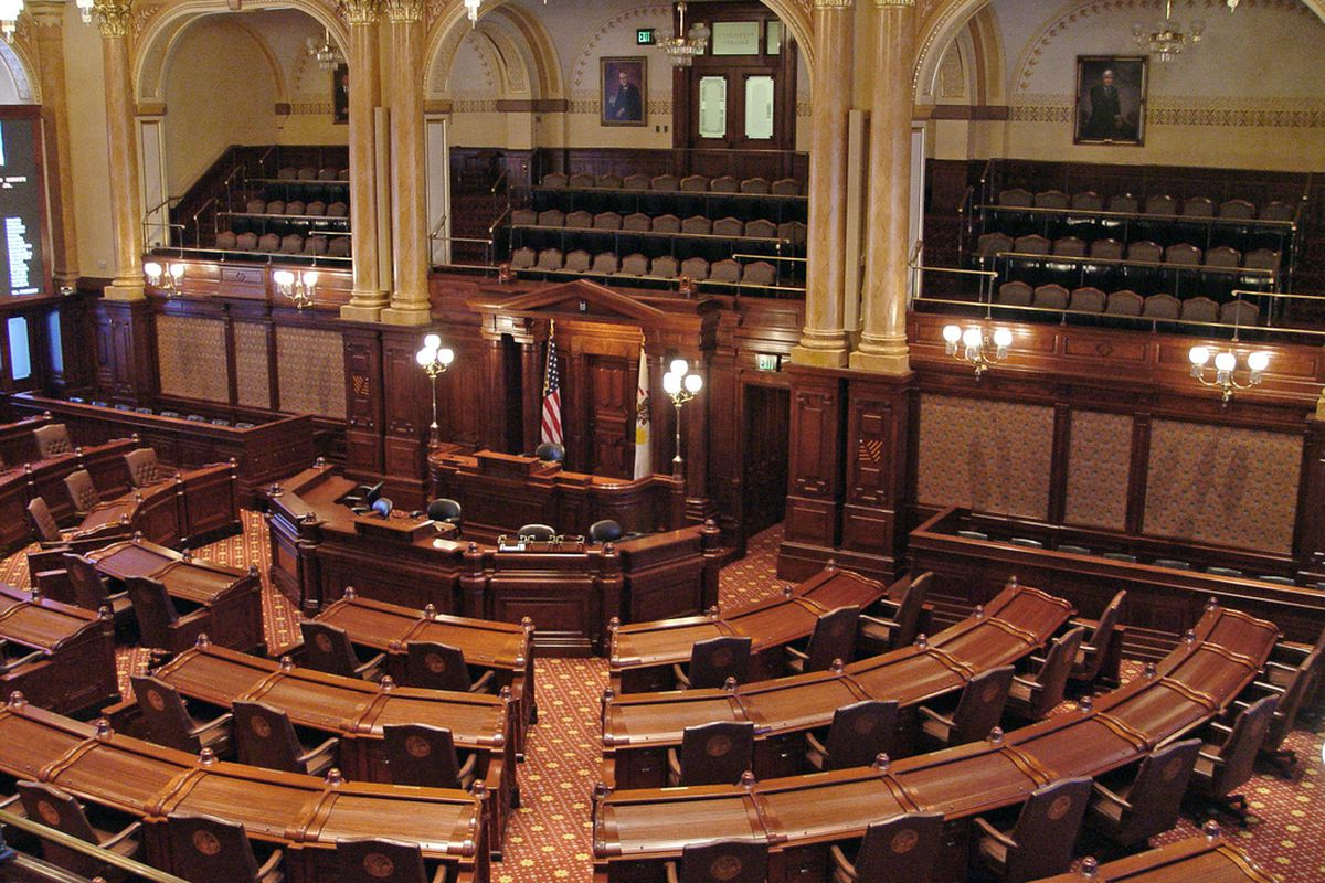 A view of the Republican side of the Illinois Senate Chamber.