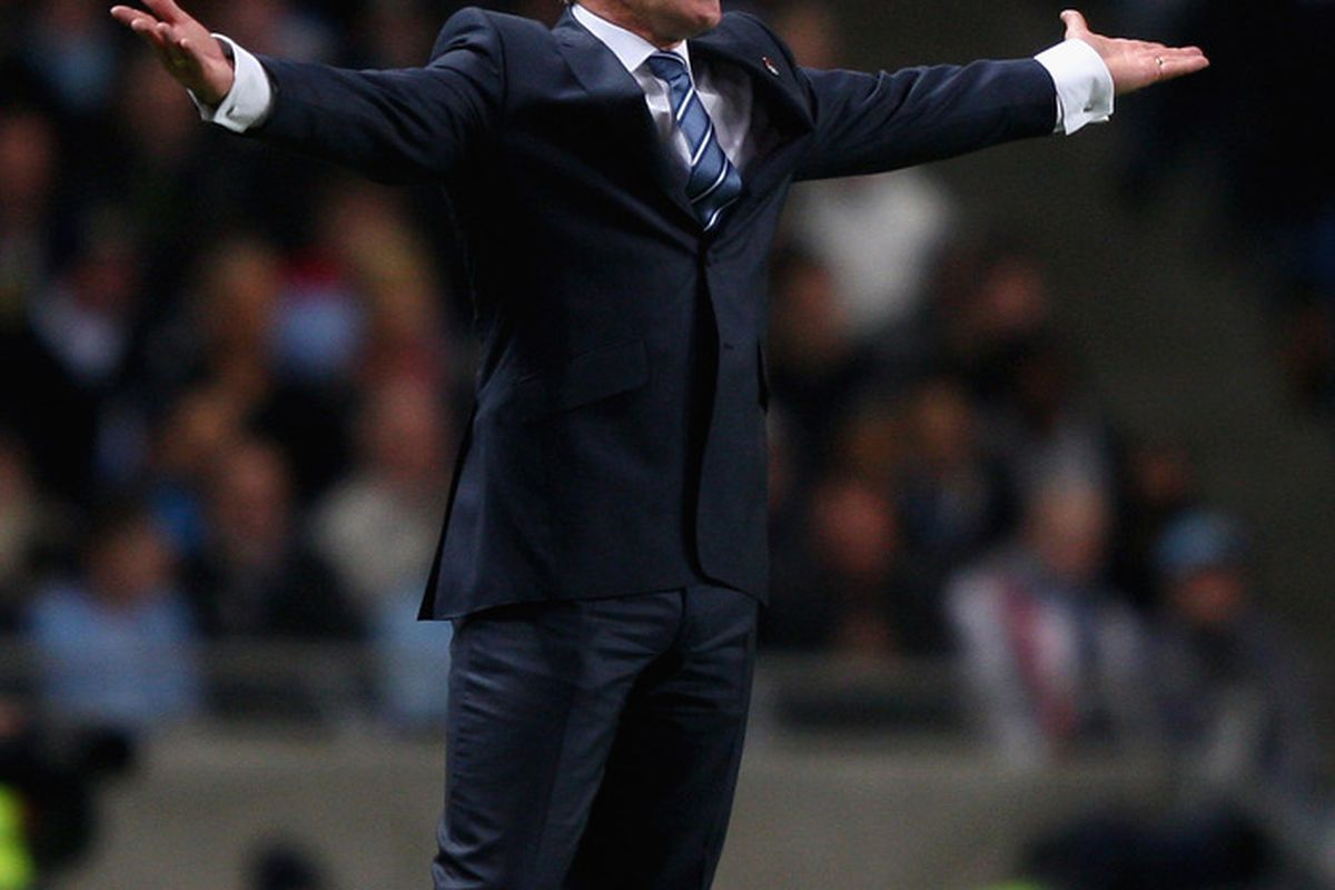 Mark Hughes patrols the touchline during his time in charge at Eastlands. (Picture from Getty images)