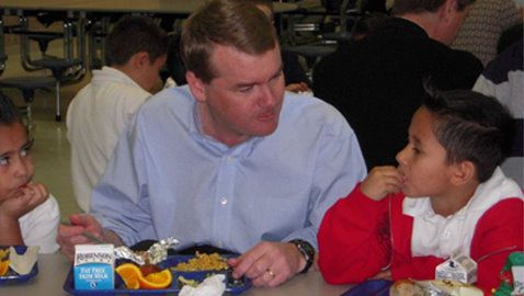 U.S. Sen. Michael Bennet, D-Colorado, shared lunch with Thornton students in April.