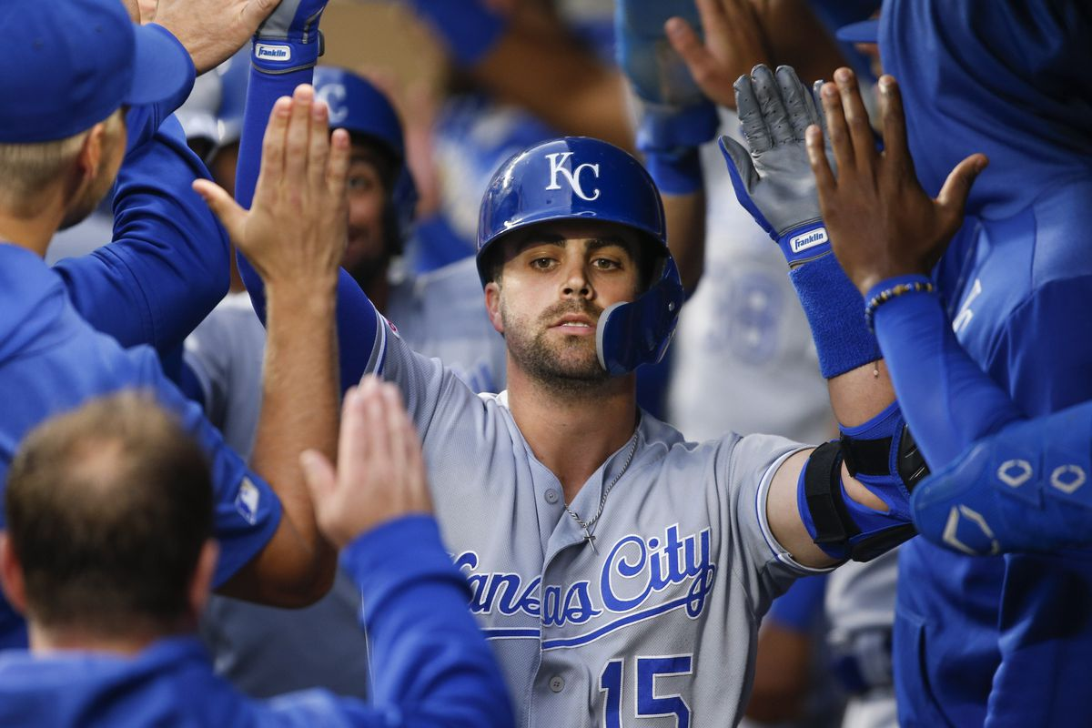 Kansas City Royals first baseman Whit Merrifield (15) celebrates in the dugout after hitting a three-run home run against the Seattle Mariners during the fourth inning at T-Mobile Park. Mandatory Credit: Joe Nicholson