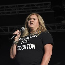 A member of the Mama Dragons shows support for members of the LGBTQ community and talks about the loss of her son to suicide during the LoveLoud Festival at Utah Valley University on Saturday, Aug. 26, 2017, in Orem.