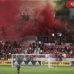Real Salt Lake goalkeeper David Ochoa (1) watches action as fans celebrate a goal at Rio Tinto Stadium in Sandy on Saturday, July 24, 2021. Real won 3-0.