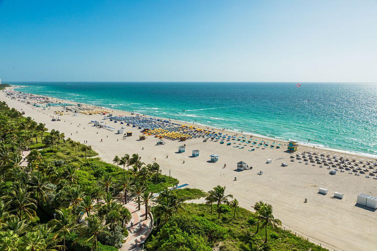 The beach and ocean view from Unit #1506 at Miami Beach's Il Villaggio