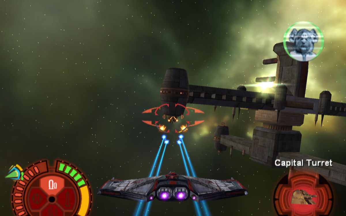 A Jedi Starfighter attacks a space station floating in a green nebula