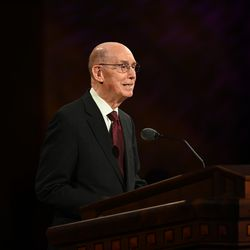 President Henry B. Eyring, second counselor in the First Presidency, speaks during the women's session of the 190th Semiannual General Conference of The Church of Jesus Christ of Latter-day Saints on Saturday, Oct. 3, 2020.