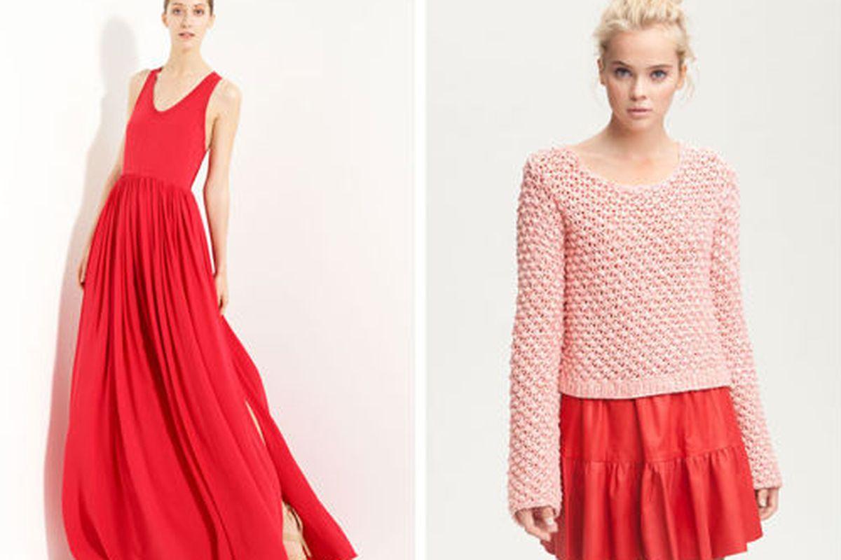 "<a href=""http://shop.nordstrom.com/s/yigal-azrouel-silk-crepe-maxi-dress/3277111?origin=category"">Yigal Azrouël Silk Crepe Maxi Dress</a>, $894 (was $1,495), and <a href=""http://shop.nordstrom.com/S/aiko-amelie-popcorn-stitch-sheer-cotton-sweater/32"