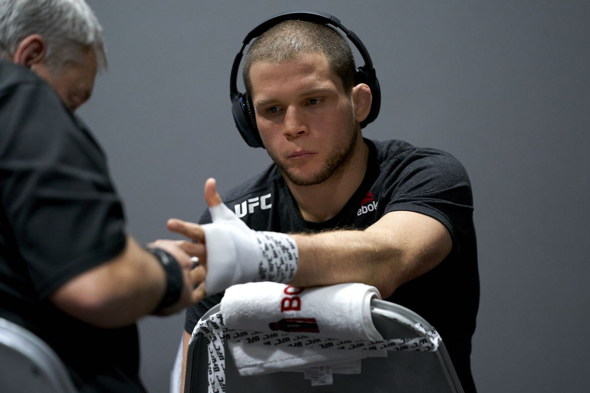 Alex Morono has his hands wrapped backstage during the UFC 247 event at Toyota Center on February 08, 2020 in Houston, Texas.